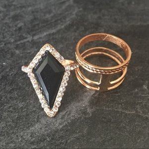⭐️2/20$⭐️ set of 2 gold-coloured statement rings